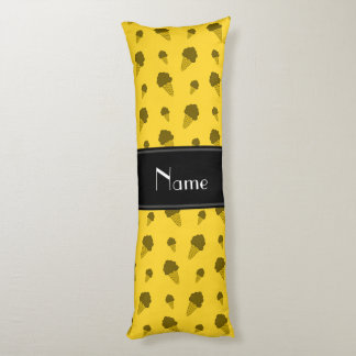 Personalized name yellow ice cream pattern body pillow
