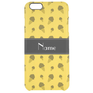 Personalized name yellow ice cream pattern uncommon clearly™ deflector iPhone 6 plus case