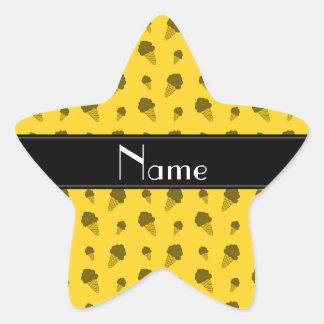 Personalized name yellow ice cream pattern sticker