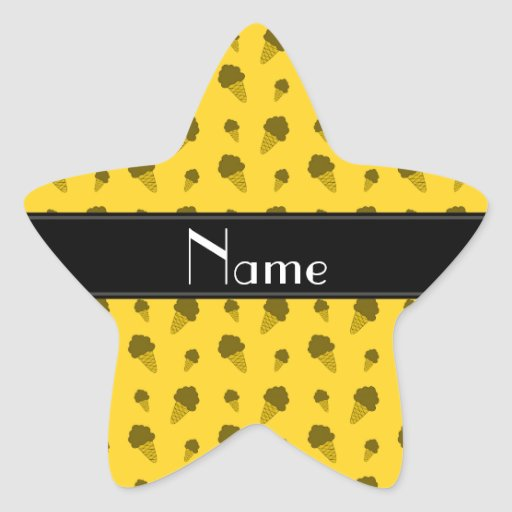 Personalized name yellow ice cream pattern sticker