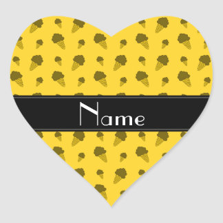 Personalized name yellow ice cream pattern heart stickers