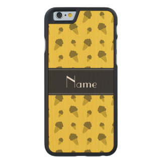 Personalized name yellow ice cream pattern carved® maple iPhone 6 case