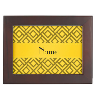 Personalized name yellow interlocking triangles keepsake box