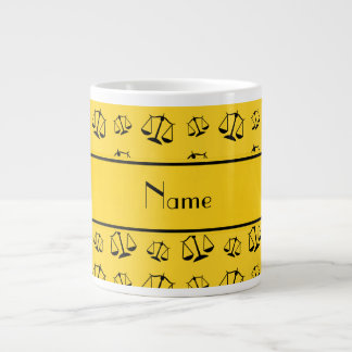 Personalized name yellow justice scales jumbo mug