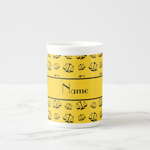 Personalized name yellow justice scales bone china mugs