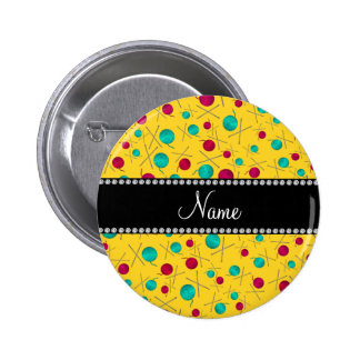 Personalized name yellow knitting pattern 6 cm round badge