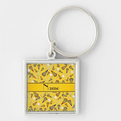 Personalized name yellow lacrosse pattern key chain