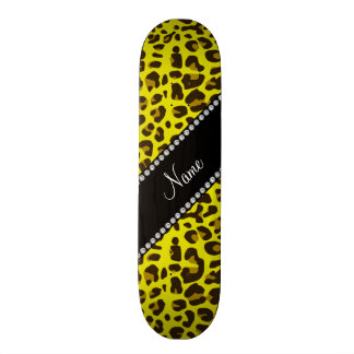 Personalized name yellow leopard pattern skateboard deck