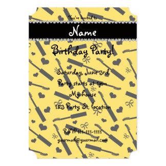 Personalized name yellow mascara hearts bows 13 cm x 18 cm invitation card