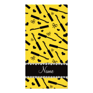 Personalized name yellow mascara hearts bows photo card template