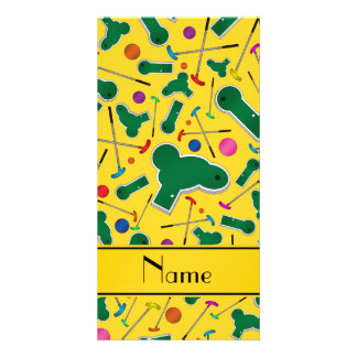 Personalized name yellow mini golf photo card template