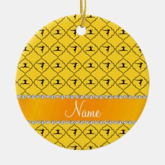 Personalized name yellow moroccan gymnastics round ceramic decoration