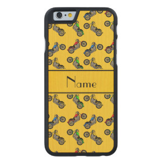 Personalized name yellow motorcycles carved® maple iPhone 6 case