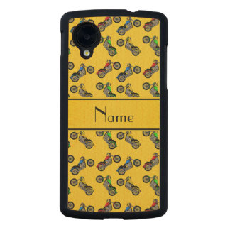 Personalized name yellow motorcycles carved® maple nexus 5 case