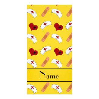 Personalized name yellow nurse pattern custom photo card