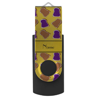 Personalized name yellow peanut butter jelly swivel USB 2.0 flash drive