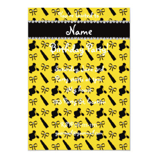 "Personalized name yellow perfume lipstick bows 5"" x 7"" invitation card"