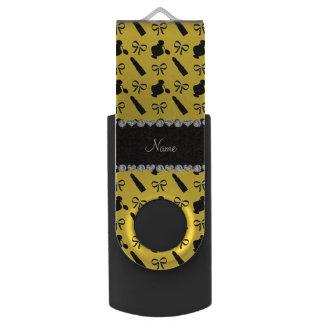 Personalized name yellow perfume lipstick bows swivel USB 2.0 flash drive