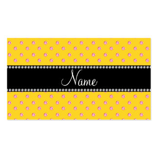 Personalized name yellow pink diamonds business card