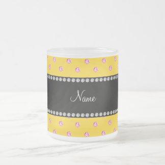 Personalized name yellow pink diamonds coffee mugs