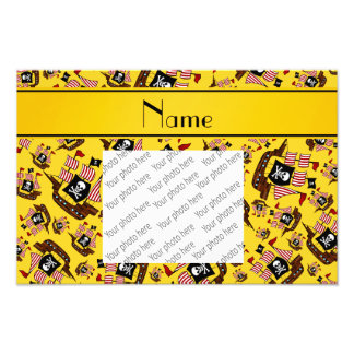 Personalized name yellow pirate ships photo art