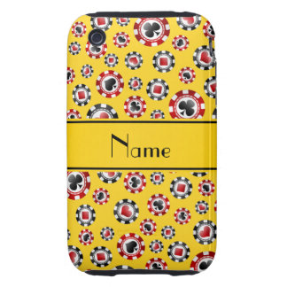 Personalized name yellow poker chips iPhone 3 tough case