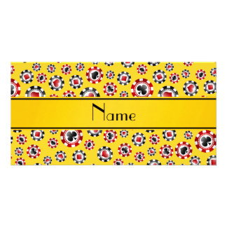 Personalized name yellow poker chips custom photo card