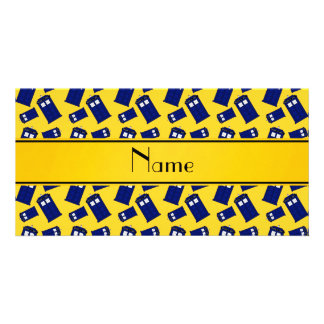 Personalized name yellow police box photo card