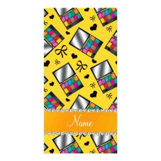Personalized name yellow rainbow eyeshadow customised photo card