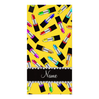Personalized name yellow rainbow lipstick photo card template