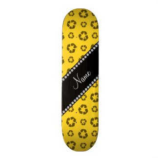 Personalized name yellow recycling pattern 21.3 cm mini skateboard deck