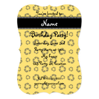"""Personalized name yellow recycling pattern 5"""" x 7"""" invitation card"""