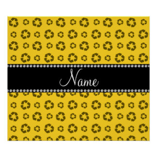 Personalized name yellow recycling pattern print