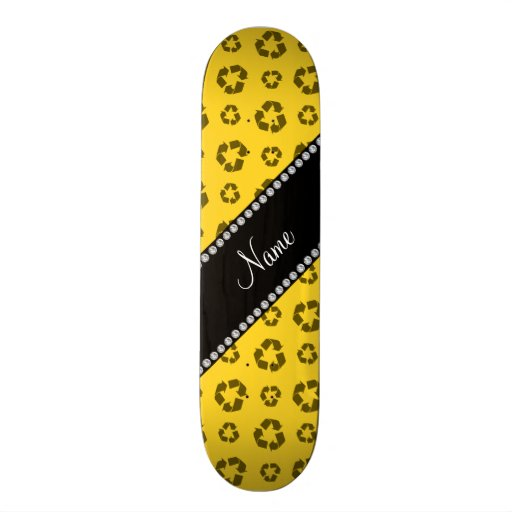 Personalized name yellow recycling pattern skate boards