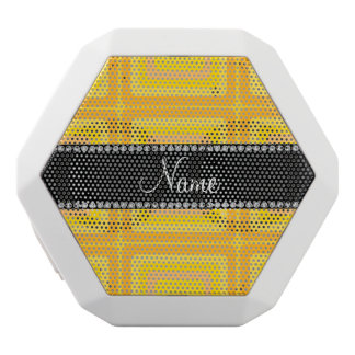 Personalized name yellow retro colorful squares white boombot rex bluetooth speaker