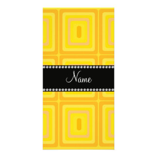 Personalized name yellow retro colorful squares custom photo card