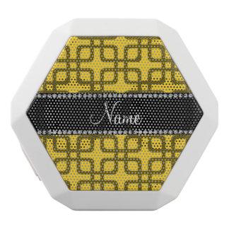 Personalized name yellow retro squares white boombot rex bluetooth speaker