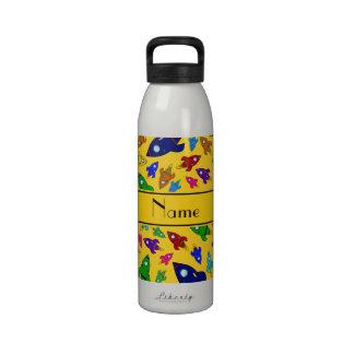 Personalized name yellow rocket ships drinking bottles