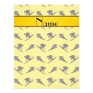 Personalized name yellow ski pattern flyers