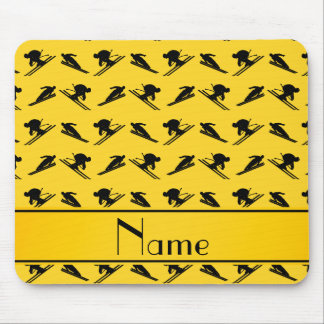 Personalized name yellow ski pattern mousepads