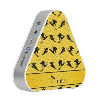 Personalized name yellow ski pattern bluetooth speaker