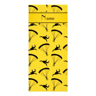 Personalized name yellow skydiving pattern rack card