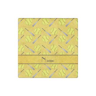 Personalized name yellow softball pattern stone magnet