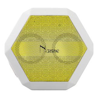 Personalized name yellow squares circles white boombot rex bluetooth speaker