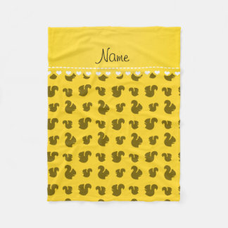 Personalized name yellow squirrel pattern fleece blanket