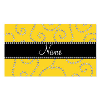 Personalized name yellow swirl diamonds business cards