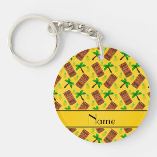 Personalized name yellow tiki pineapples palm tree Double-Sided round acrylic keychain