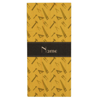 Personalized name yellow tools pattern wood USB 2.0 flash drive