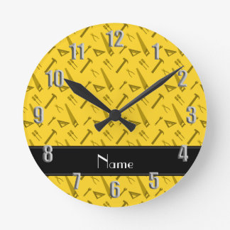Personalized name yellow tools pattern round clock