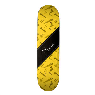 Personalized name yellow tools pattern skate deck